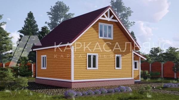Каркасный Дом под ключ 7х8.5 м по проекту Вуокса 3